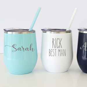 Personalized Stemless Wine Tumbler with Straw