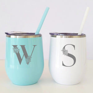Floral Monogrammed Wine Tumbler - Sacha & Co