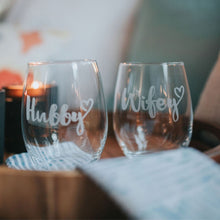 Load image into Gallery viewer, Hubby & Wifey Wine Glass Set - Sacha & Co