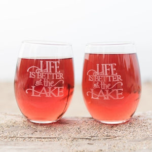 Life is Better at the Lake Wine Glasses Set - Sacha & Co