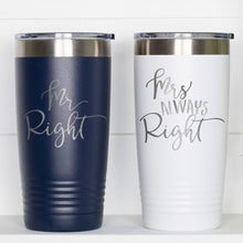 Load image into Gallery viewer, Mr Mrs Right Couple Coffee Tumbler with Lid - Sacha & Co