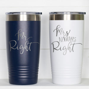 Mr Mrs Right Couple Coffee Tumbler with Lid - Sacha & Co