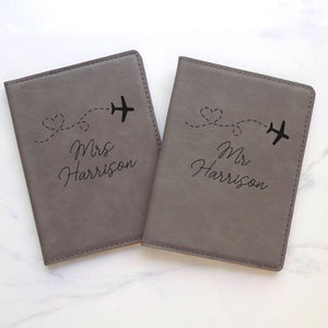 Personalized His and Hers Passport Cover Travel Set - Sacha & Co
