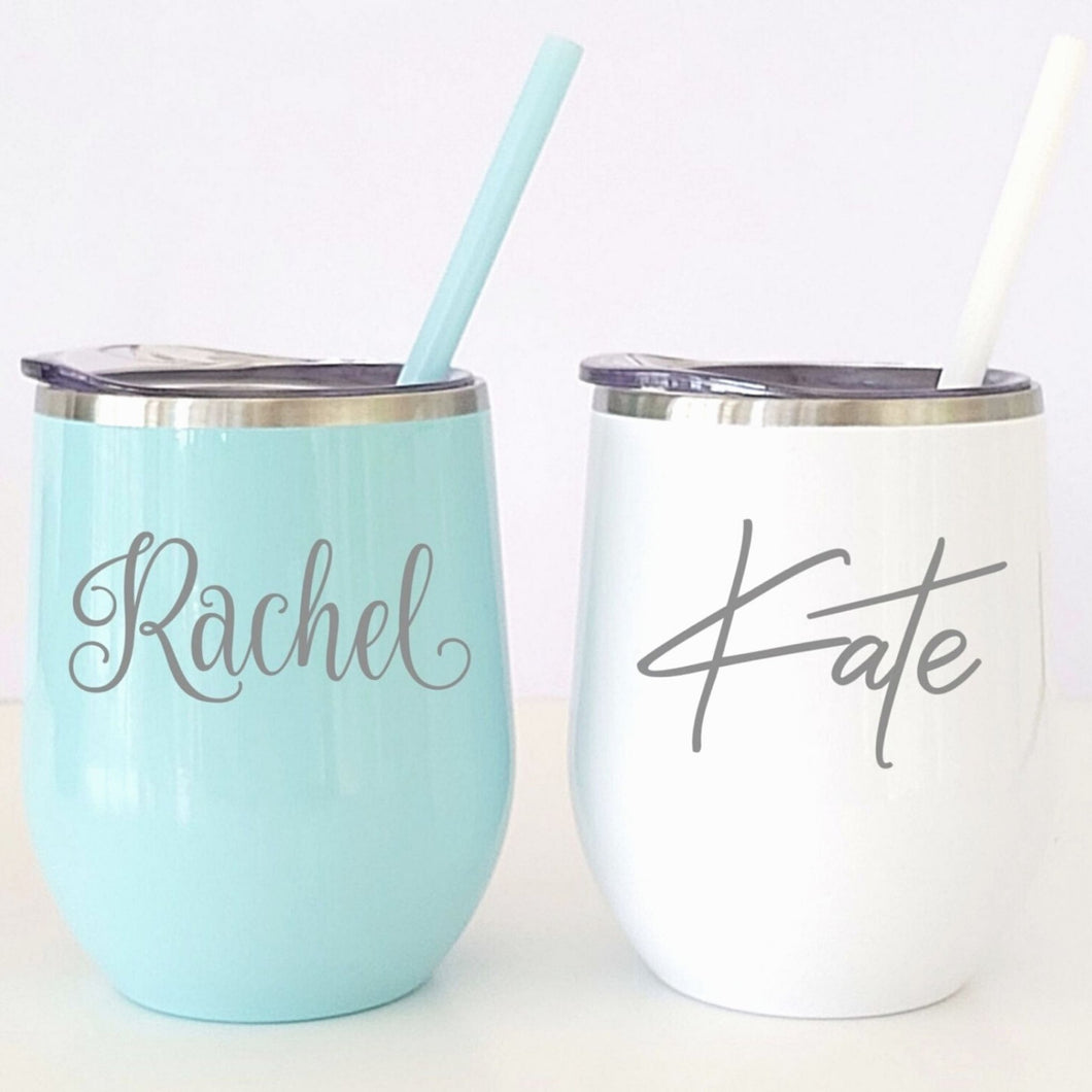 Personalized Stemless Wine Tumbler with Straw - Sacha & Co