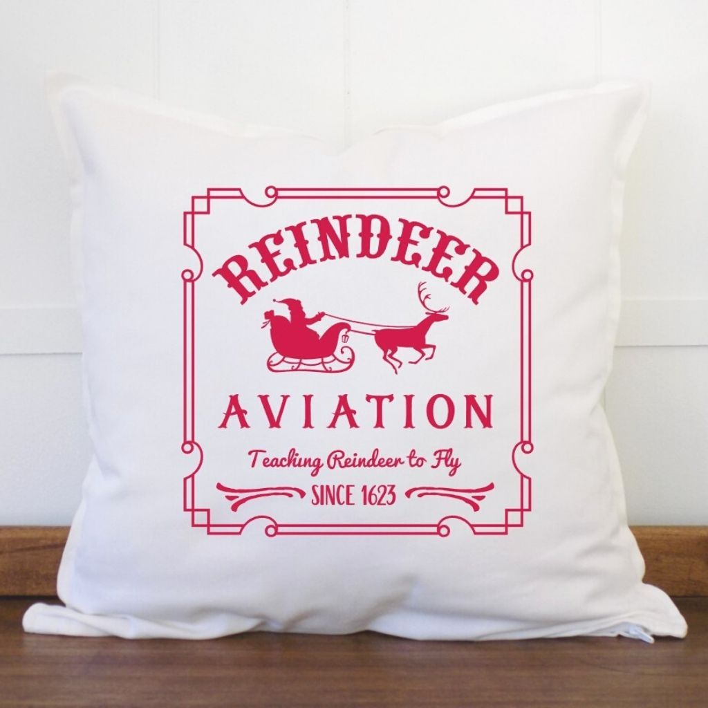 Reindeer Aviation Christmas Pillow Cover - Sacha & Co