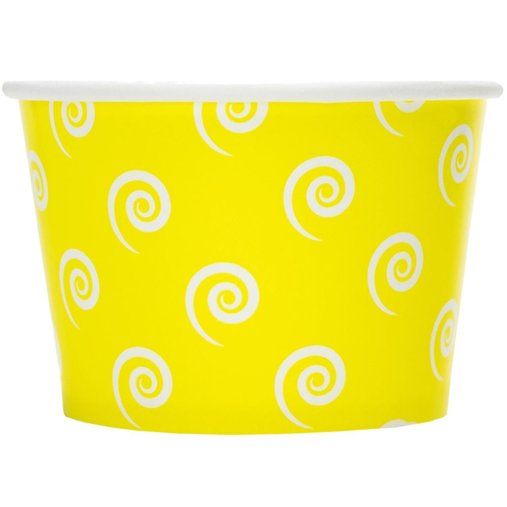 UNIQ 8 oz Yellow Swirls and Twirls Take Out Cups