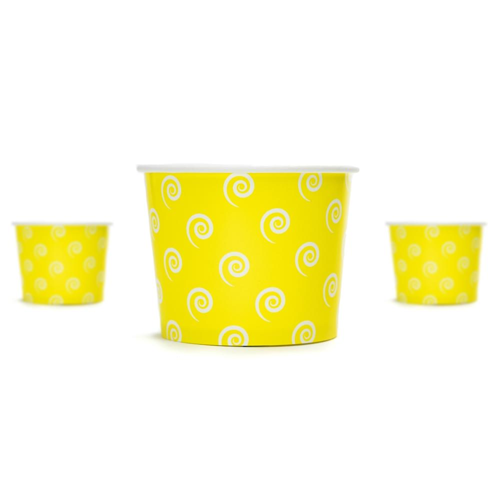 UNIQ 12 oz Yellow Swirls and Twirls Take Out Cups