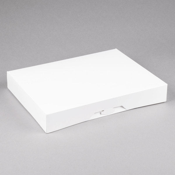 "15"" x 11 1/2"" x 2 1/4"" White Donut / Bakery Box"