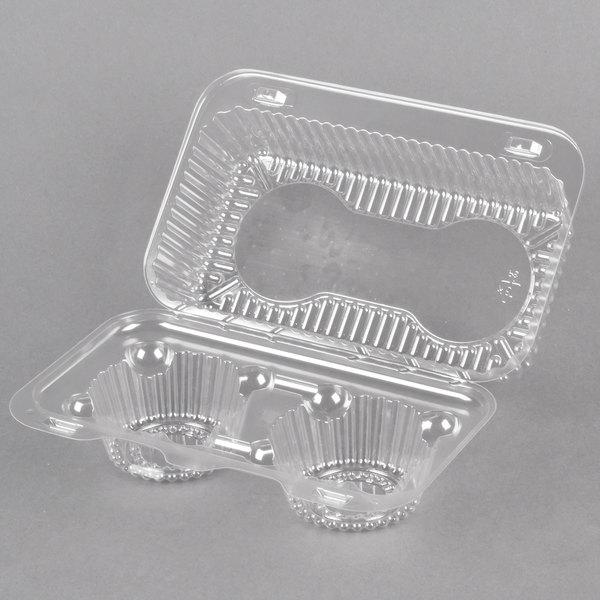 2 Compartment Hinged Clear Muffin Takeout Container