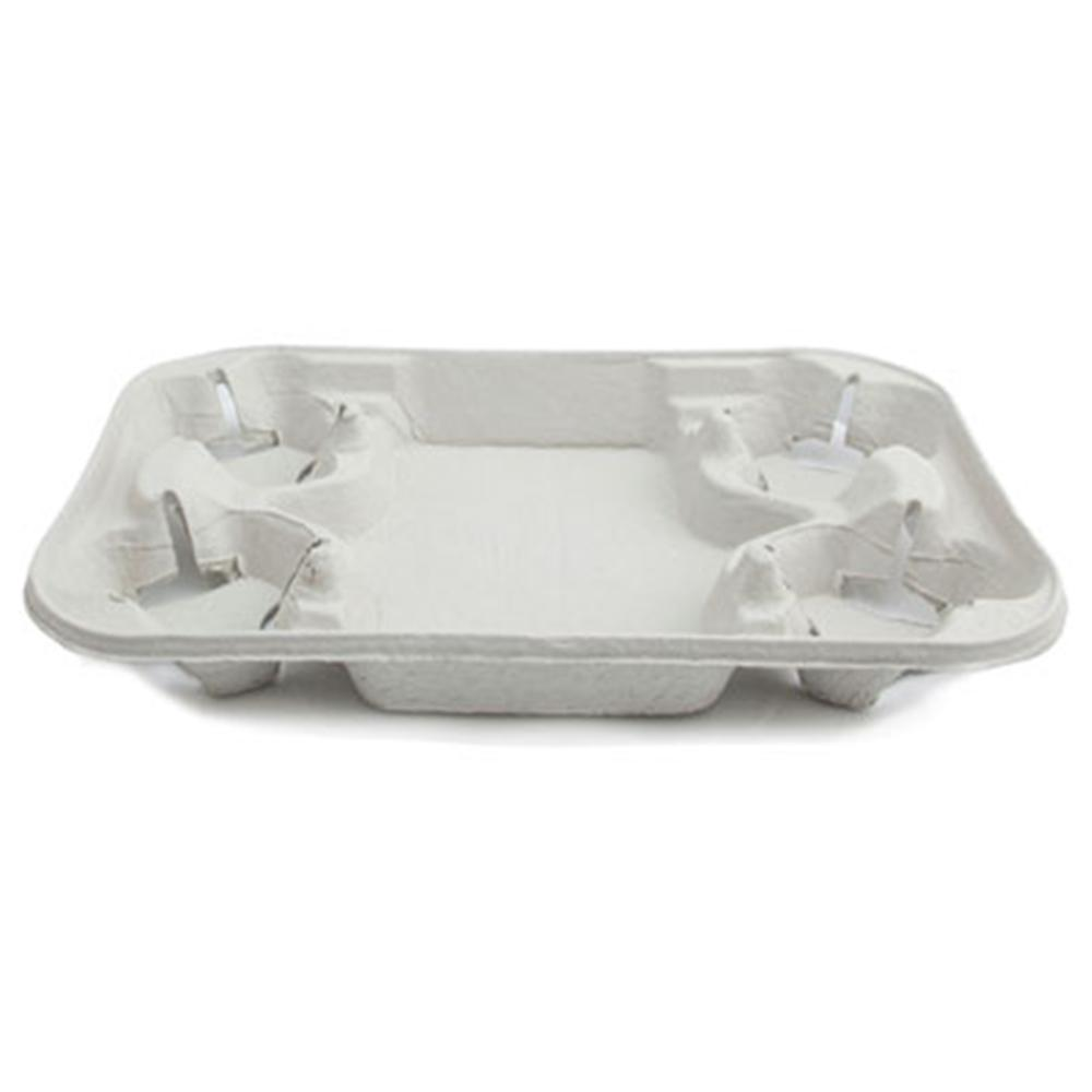 Eco-Friendly Take Out Cup Carrier - 4 Cup Holder & Tray