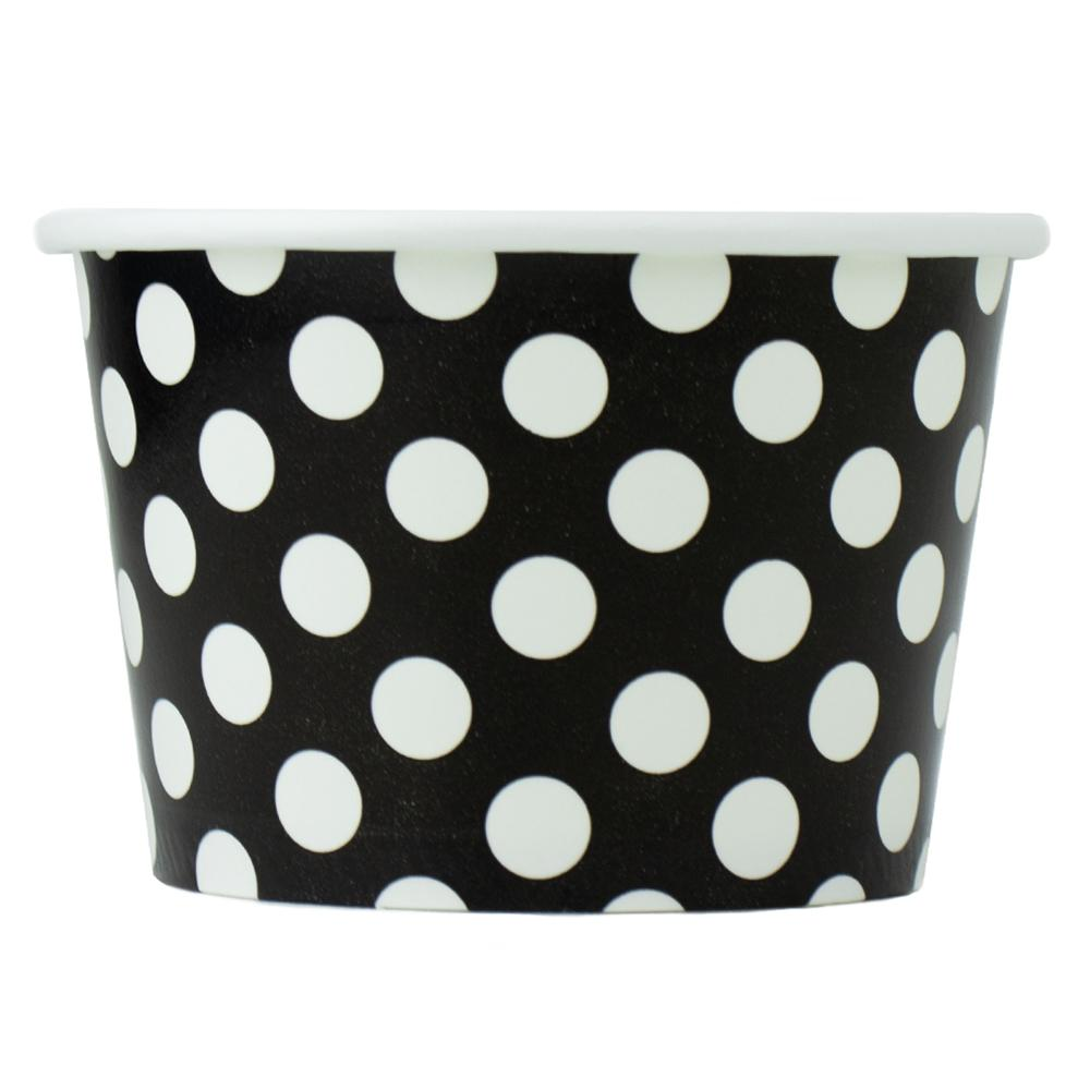 UNIQ 8 oz Black Polka Dotty Take Out Cups