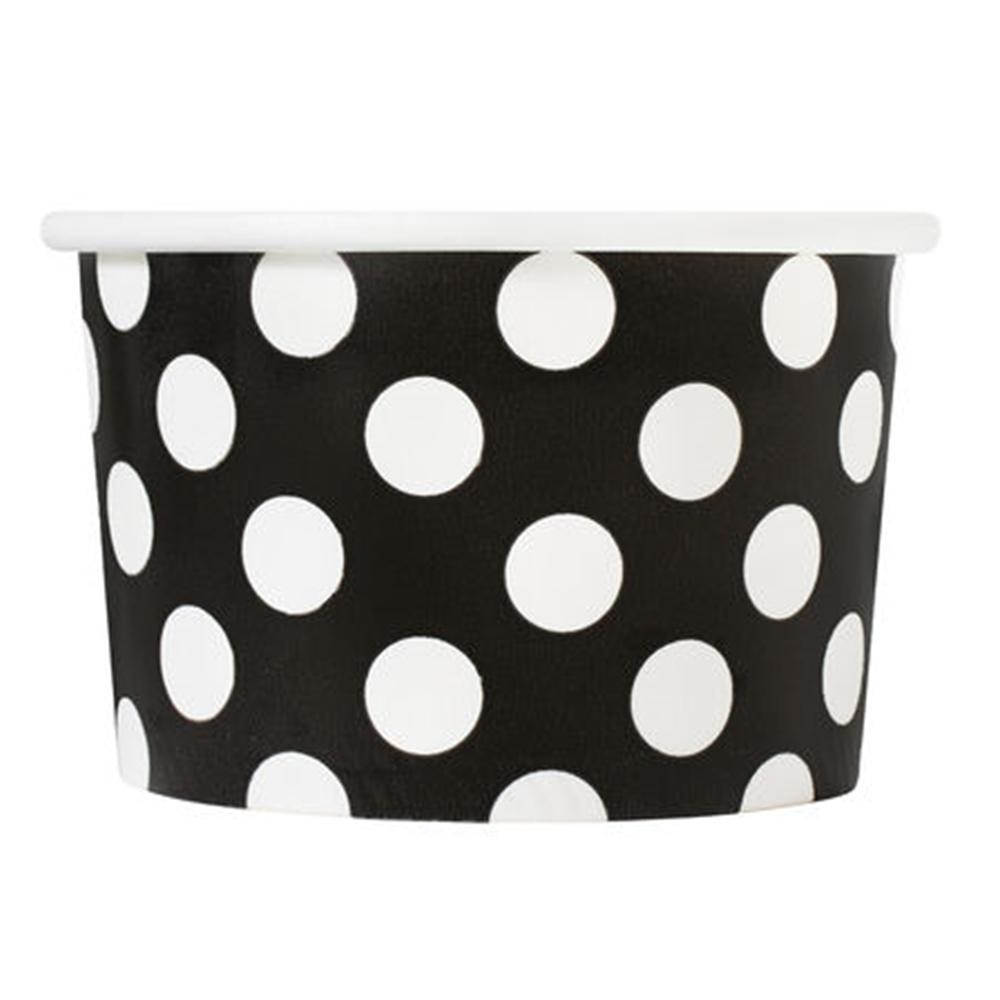 UNIQ 4 oz Black Polka Dotty Take Out Cups