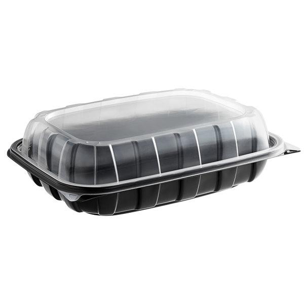 "11"" x 8 1/2"" x 3"" Black Plastic Hinged Container"