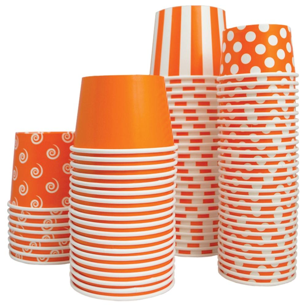 UNIQ 12 oz Orange Striped Madness Take Out Cups