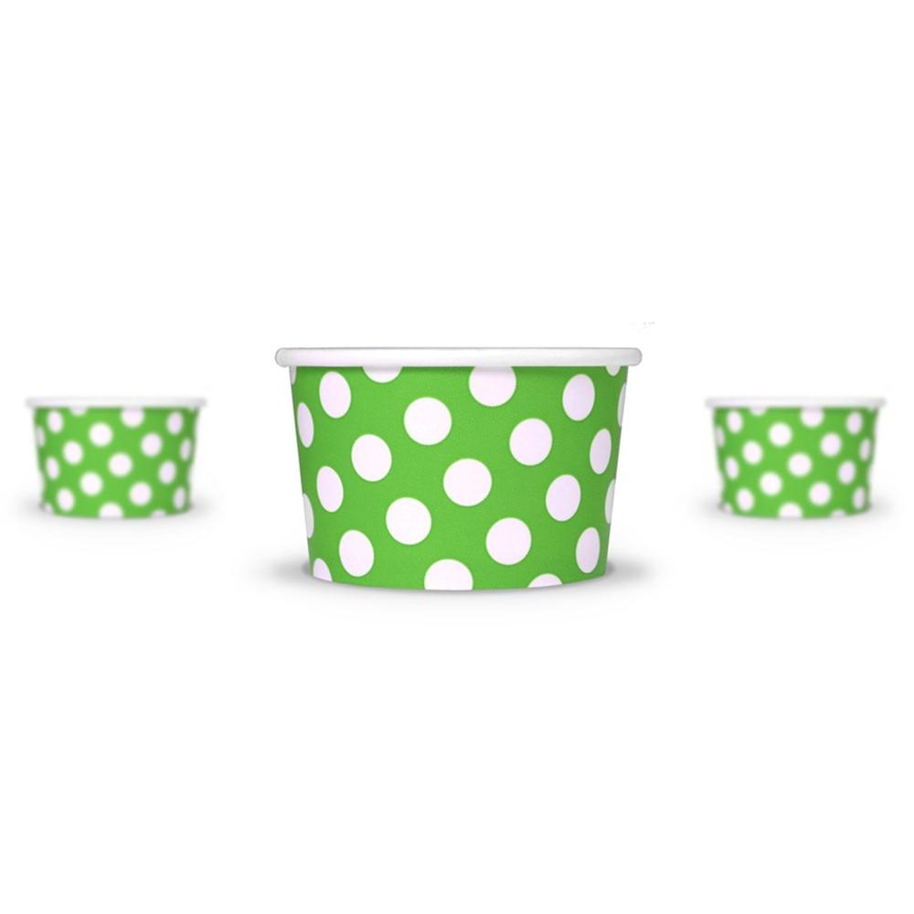 UNIQ 4 oz Green Polka Dotty Take Out Cups