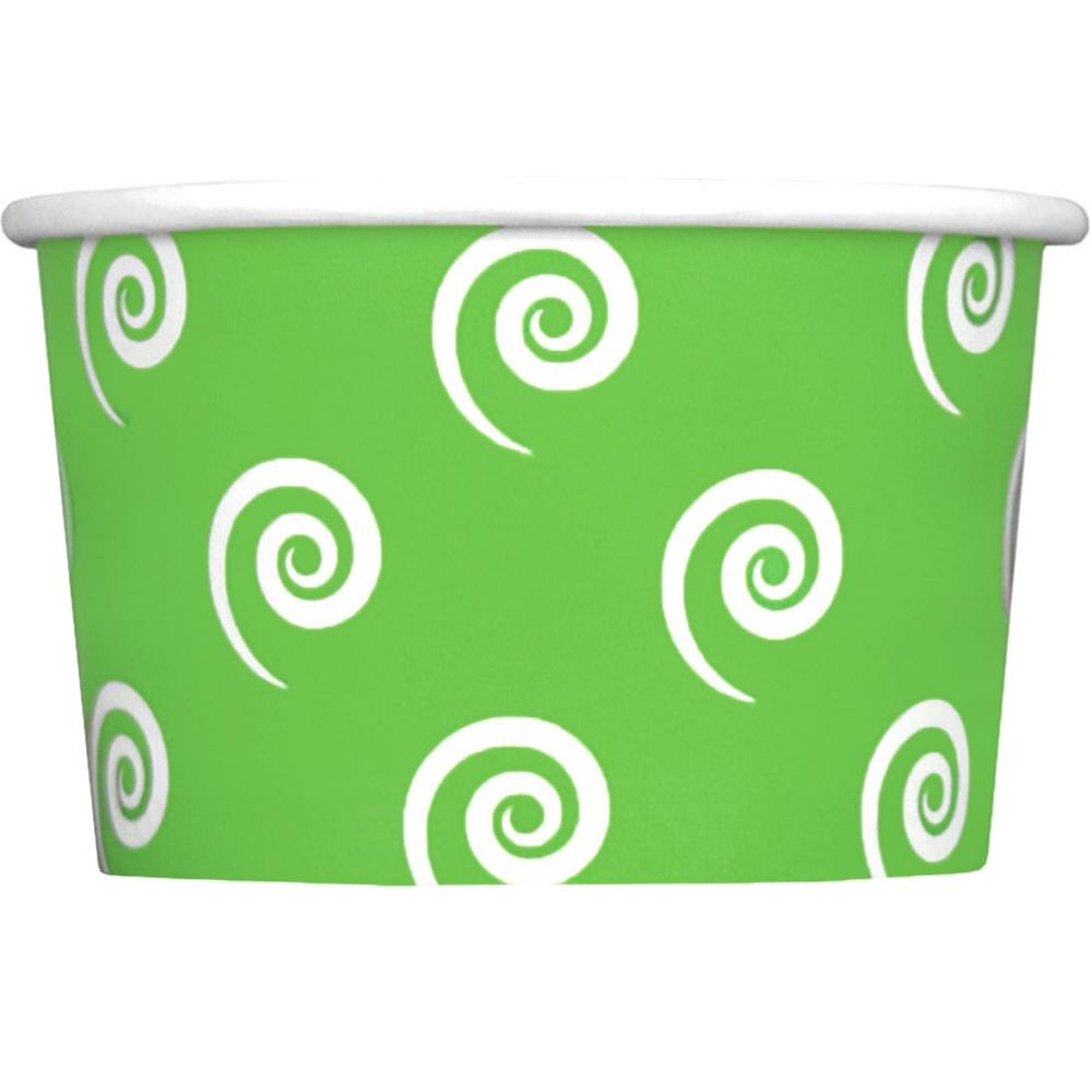 UNIQ 4 oz Green Swirls and Twirls Take Out Cups