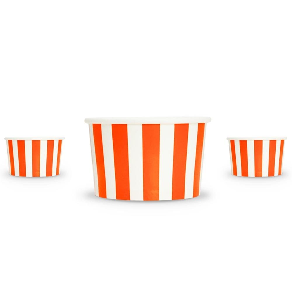 UNIQ 4 oz Orange Striped Madness Take Out Cups