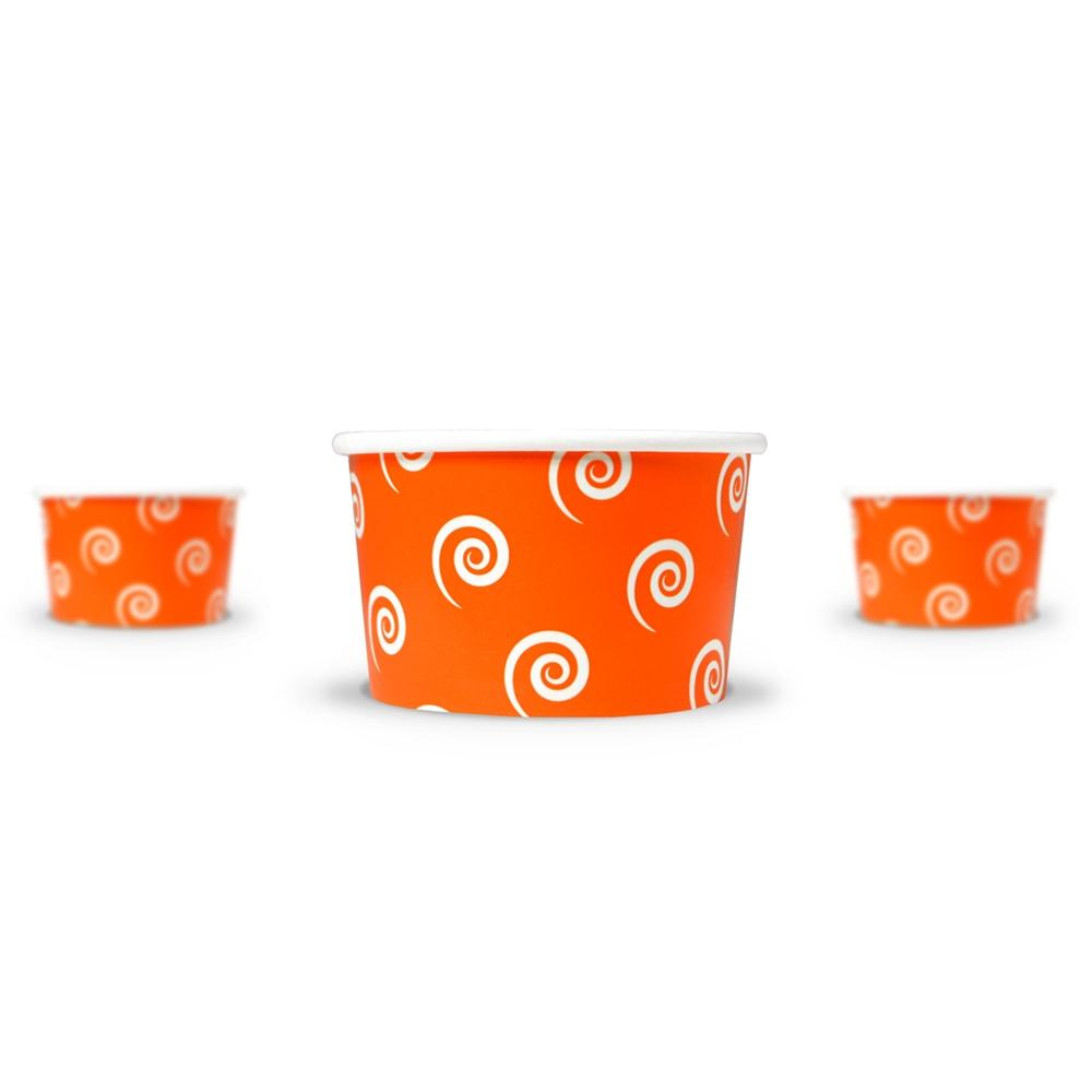 UNIQ 4 oz Orange Swirls and Twirls Take Out Cups
