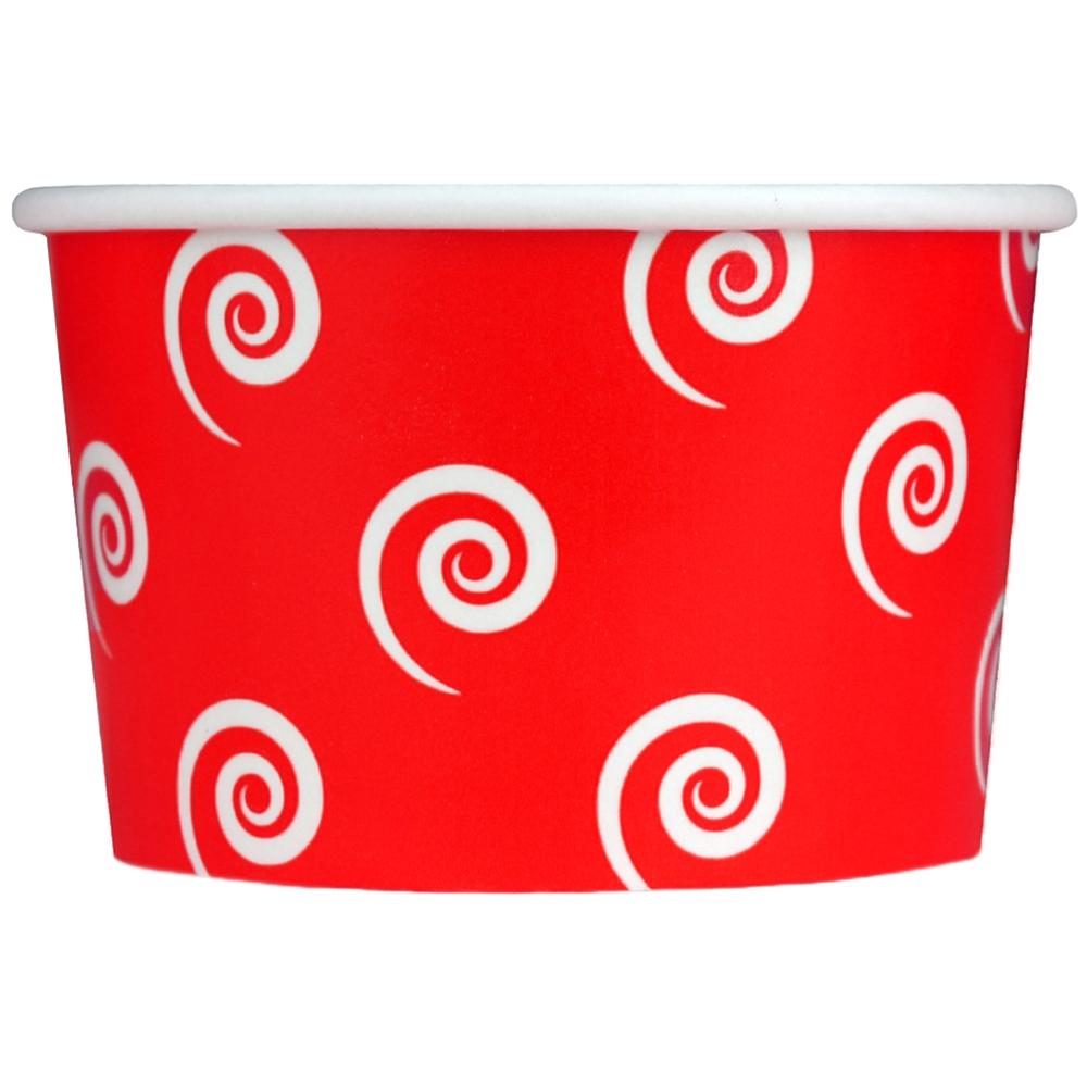 UNIQ 4 oz Red Swirls and Twirls Take Out Cups