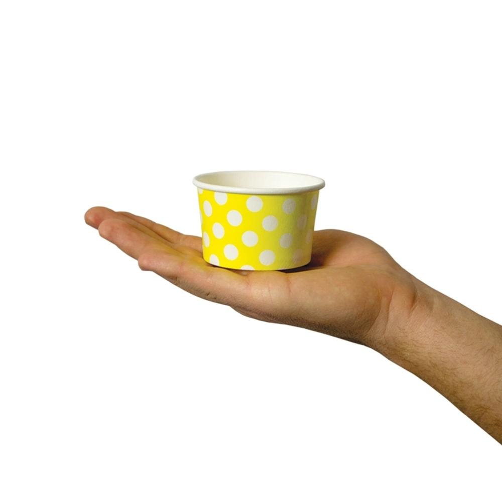 UNIQ 4 oz Yellow Polka Dotty Take Out Cups