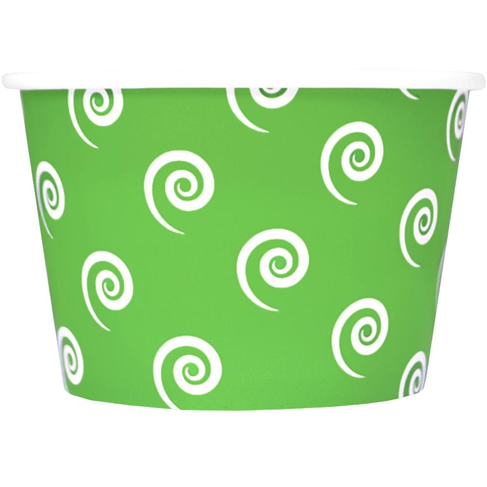 UNIQ 8 oz Green Swirls and Twirls Take Out Cups