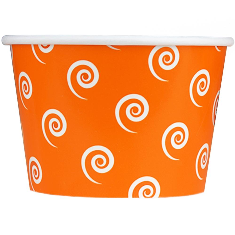 UNIQ 8 oz Orange Swirls and Twirls Take Out Cups