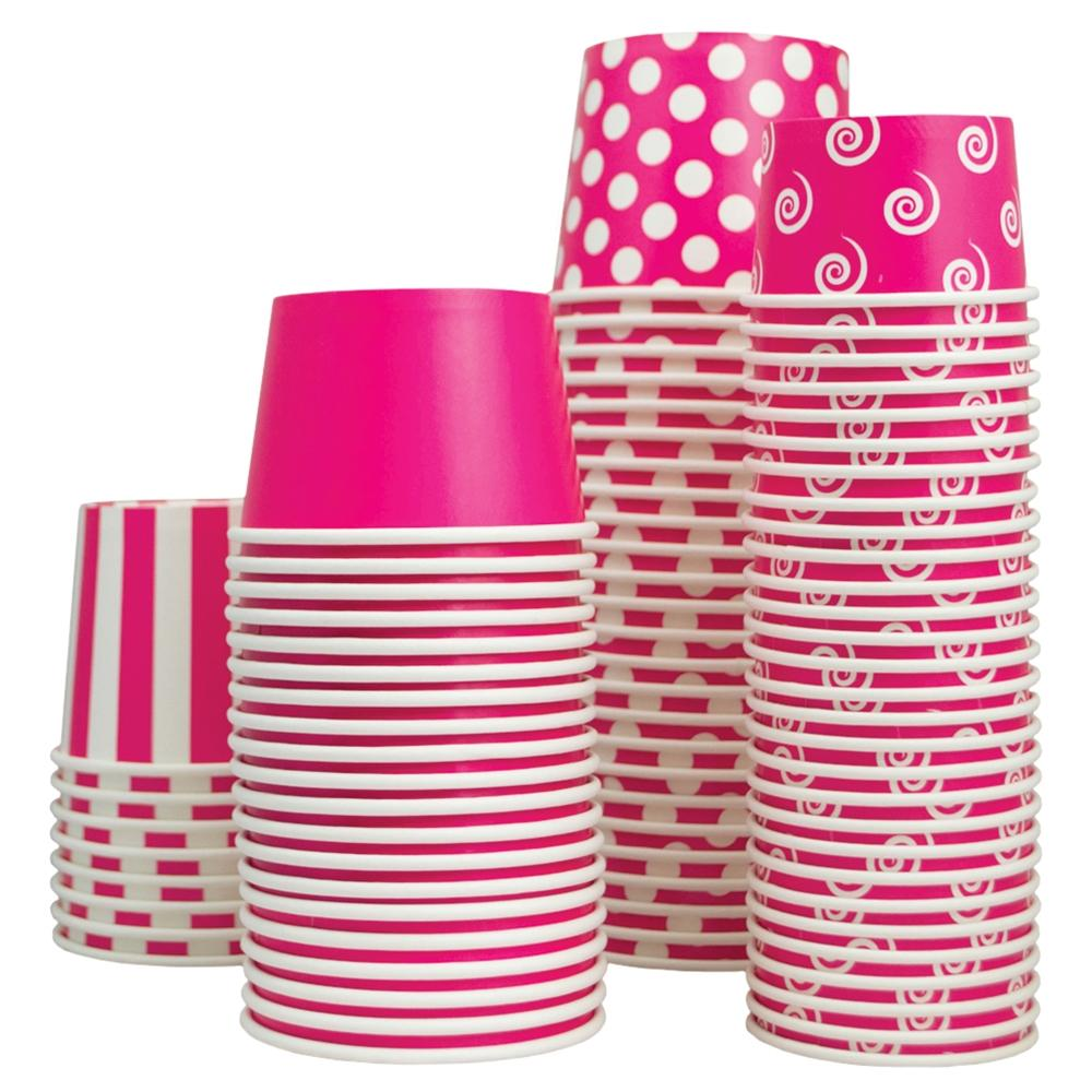UNIQ 8 oz Pink Swirls and Twirls Take Out Cups