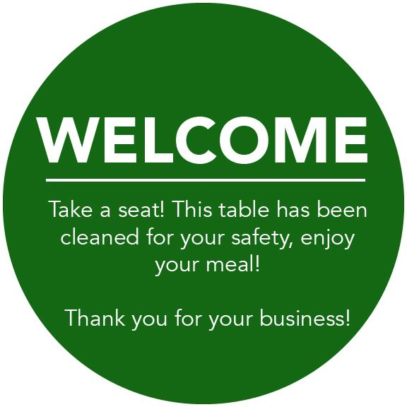 Social Distancing Table Toppers - Green 'Welcome' Topper