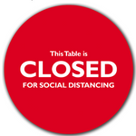 Social Distancing Table Toppers - Red 'Closed' Topper