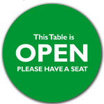 Social Distancing Table Toppers - Green 'Open' Topper