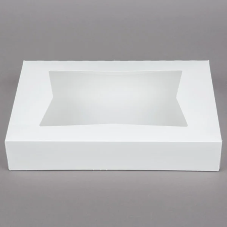 "12"" x 8"" x 2 1/4"" White Auto-Popup Window Donut / Bakery Box"