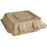 "9"" x 9"" - Bagasse Clamshell Take Out Container"