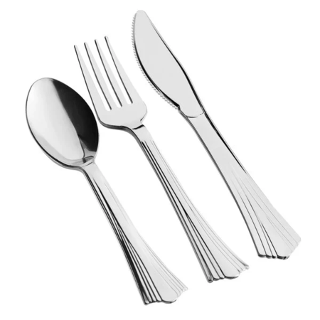 Silver Plastic Cutlery Set (50 Sets / 150 Pieces Total)