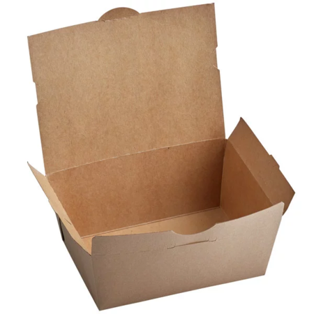 "8 3/4"" x 6 1/2"" x 3 1/2"" - Kraft Flip Top Take Out Container"