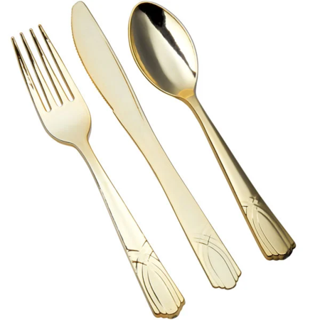 Gold Plastic Cutlery Set (50 Sets / 150 Pieces Total)