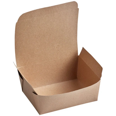 "6 3/4"" x 5 7/16"" x 2 1/2"" - Kraft Flip Top Take Out Container"