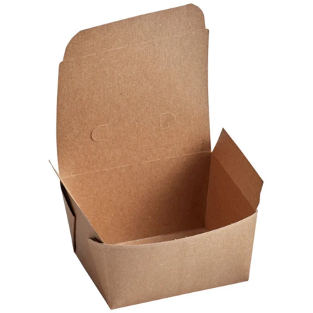"5"" x 4 1/2"" x 2 1/2"" - Kraft Flip Top Take Out Container"