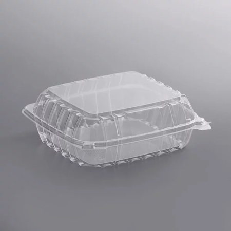 "8 5/16"" x 8 5/16"" x 3"" - Plastic Clamshell Take Out Container"