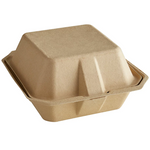 "6"" x 6"" - Bagasse Clamshell Take Out Container"
