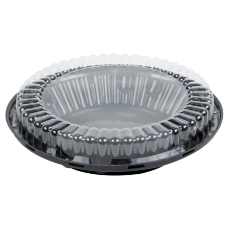 Black Pie Take Out Container with Clear Low Dome Lid