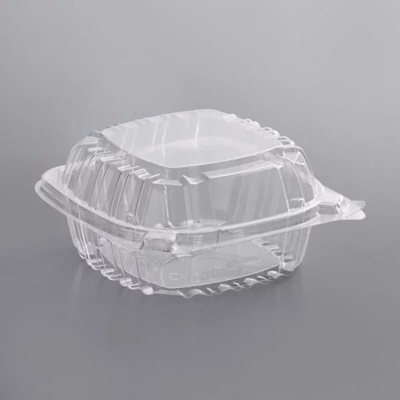 "6"" x 5 13/16"" x 3"" - Plastic Clamshell Take Out Container"