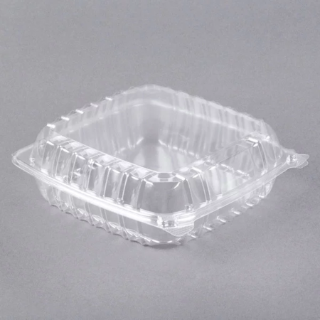 "9"" x 9 1/2"" x 3"" - Plastic Clamshell Take Out Container"