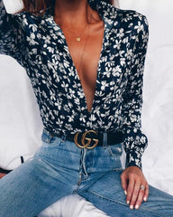 Blue floral shirt unbuttoned