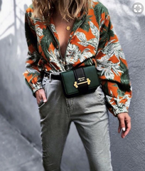 Green and orange floral unbuttoned shirt