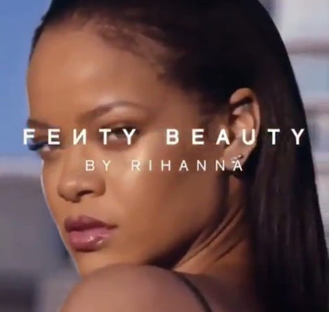 Rihanna with Fenty Beauty Writing