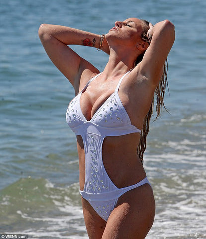 danielle mason, monokini, jewelled, diamante, gem, gemstones, crystal, white, marbella, spain, beach, model, sea