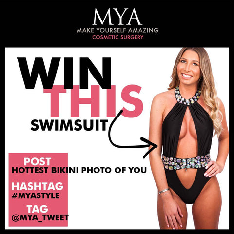 mya, cosmetic surgery, competition, monkini, swimwear, swimsuit, bikini, black, jewelled, win, featured, tv, advert, mirror image