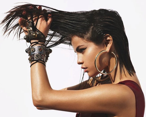 selena gomez, vogue, blog, style, gold earrings, designer, fashion