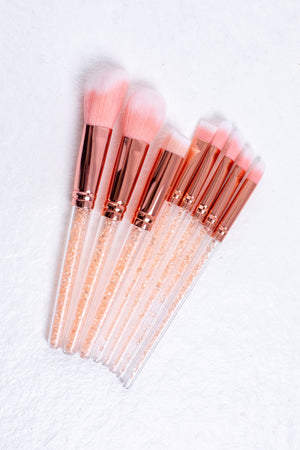 8 Piece Crystal Pink Brush Set - Mirror Image Style