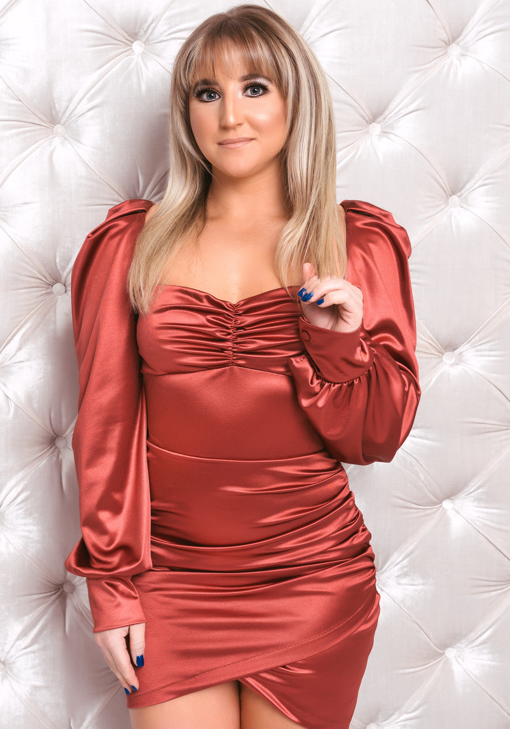Rust Satin Long Sleeve Ruched Dress